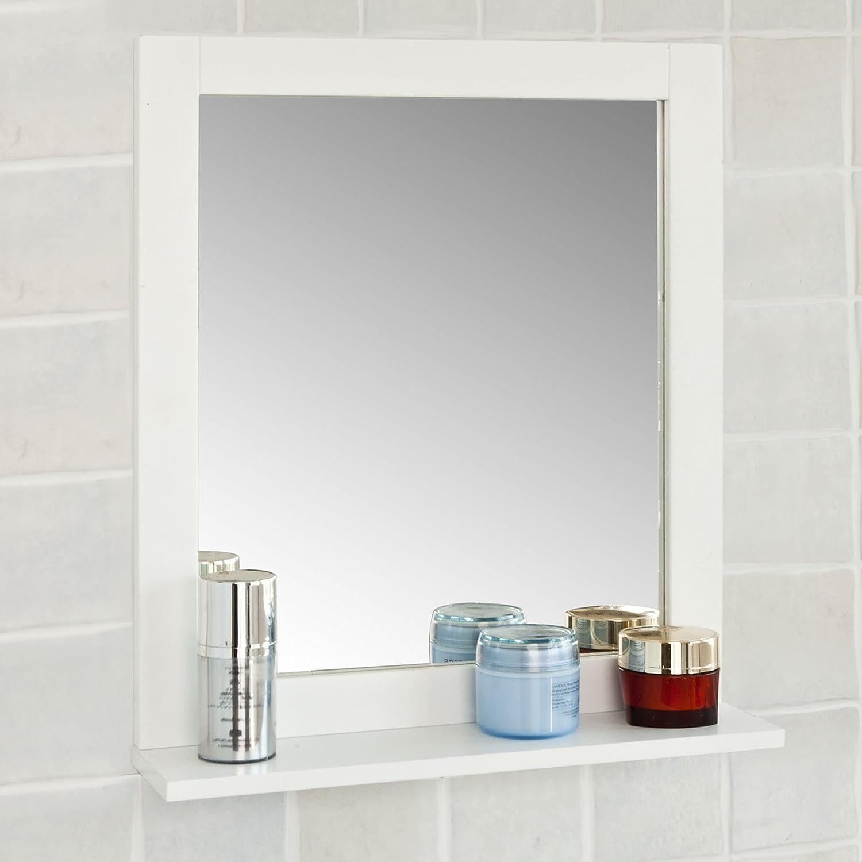 SoBuy® FRG129 W Spiegel Wandspiegel Badspiegel Mit Ablage Weiß