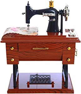 XBKPLO Musical Sewing Machine Music Box Vintage Look Mechanical Birthday Gift Jewelry Storage Table Decor Retro Classical Desk Decor for Collection Anniversary Christmas Valentine's Day