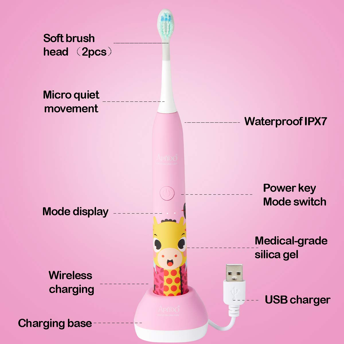 Apiyoo Kids Electric Toothbrush, A7 Sonic Wireless Rechargeable Toothbrush, IPX7 Waterproof with 3 Brushing Modes, 2 Min Smart Timer for Kids. (Pink) by Apiyoo (Image #8)