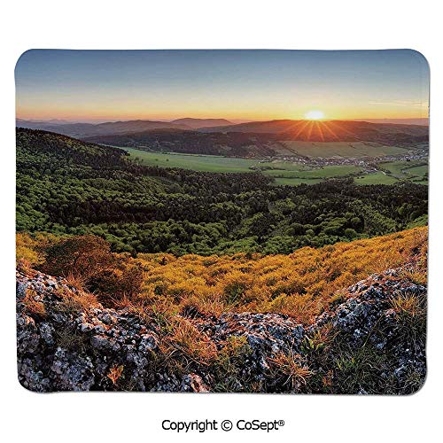 Quality Selection Comfortable Mouse Pad,Balkans Slovakian Mountain Valley at Sunset Sky Surreal Landscape,Water-Resistant,Non-Slip Base,Ideal for Gaming (11.81