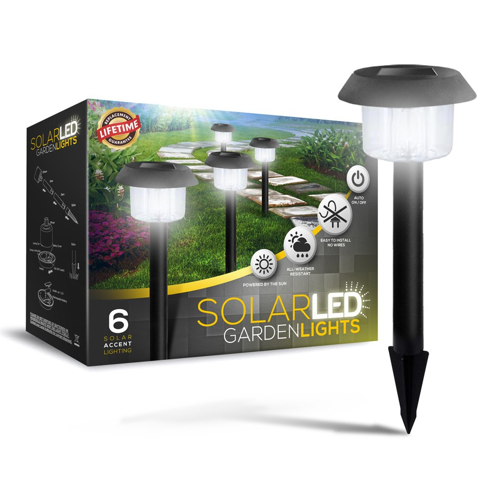 Solar Powered LED Garden Lights Lifetime replacement Guarantee
