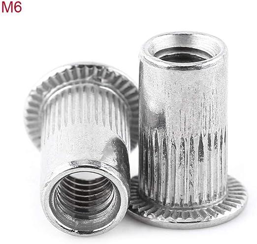 M5 20 st/ücke M3-M8 Flachkopf Gewinde Nietmuttern Edelstahl Niet Blindmuttern Aluminium Nutserts