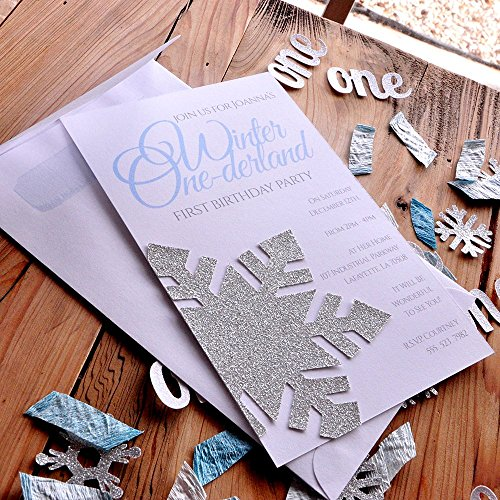 Winter Onederland Invitations and Envelopes in Silver and Baby Blue. We Print, Cut, Glue and Ship to You. ()