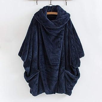 Luckycat Mujeres Casual Sólido Cuello Alto Grandes Bolsillos Capa Abrigos Vintage Abrigos de Gran tamaño: Amazon.es: Ropa y accesorios