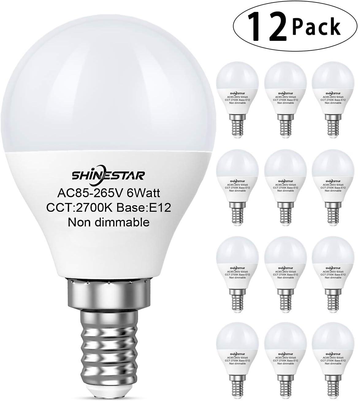 12-Pack E12 LED Light Bulbs for Ceiling Fan, 60W Equivalent Warm White A15 Candelabra LED Bulbs Vanity, Small LED Light Bulbs, Non-dimmable