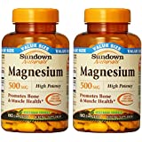 Sundown Naturals Magnesium 500 Mg Caplets Value Size, 180 Count (Pack of 2) Total 360