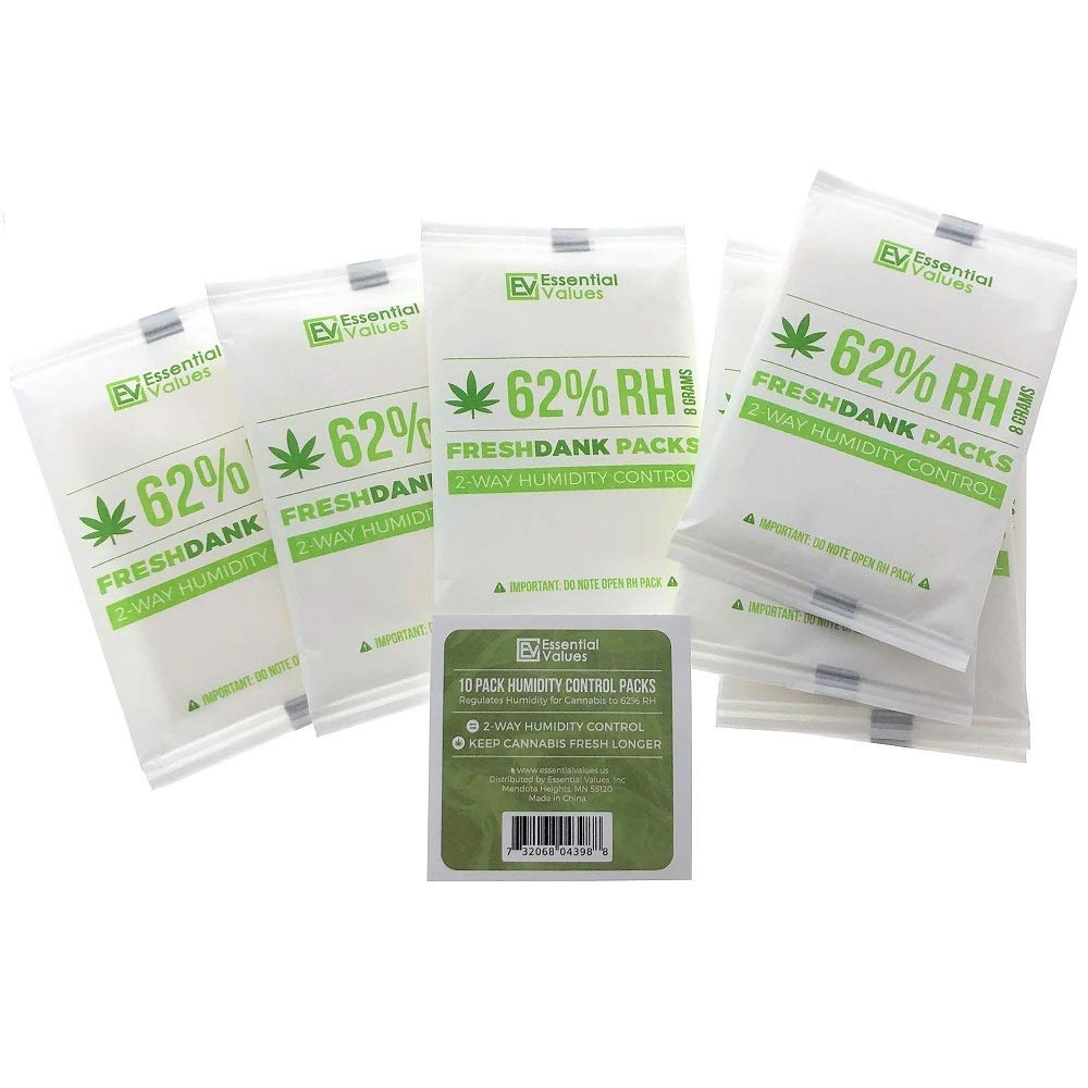 FreshDank 62-Percent RH Humidity Packs (10 Pack at 8 Grams), Best 2-Way Control That Keeps Cannabis Fresher for by Essential Values by Essential Values