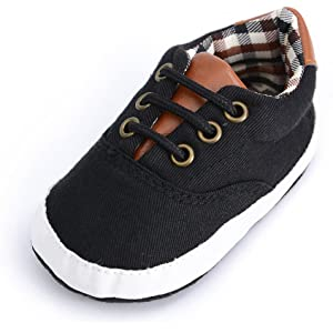1c1263623d8 Infant Toddler Baby Lace Up Soft Sole Sneakers Boys Basic Canvas First Walkers  Shoes