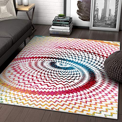 Warp Multi Chevron Red Blue Yellow Green Zigzag Modern Abstract 3D Area Rug (7'10