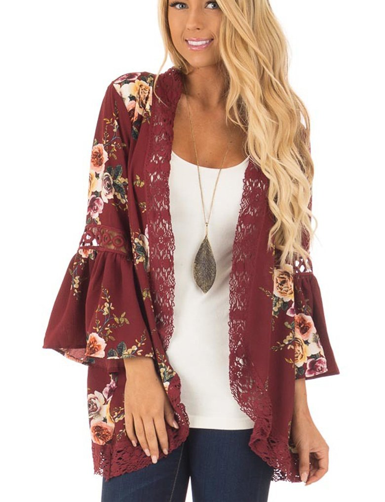 Halife Women Flowy 3/4 Sleeves Loose Fit Kimono Cardigan Blouse Top Wine Red,XL
