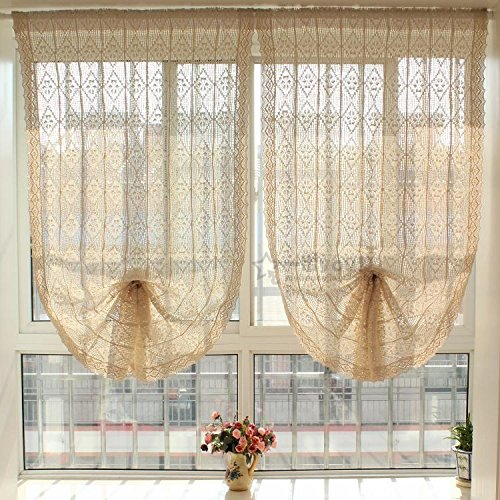 100% Linen Cotton Victorian Vintage Crochet Tie-Up Roman Balloon Window Shade Curtain Valance (33