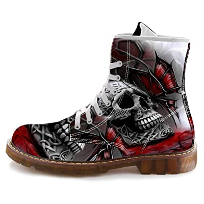 FIRST DANCE Cool Skull Print Design Mid-Carf Fashion Boots for Men Motorcycle Combat Boots High Top Shoes Plus Size | Snow Boots