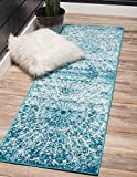 Unique Loom Sofia Collection Traditional Vintage Turquoise Home Décor Runner Rug (2' x 7')