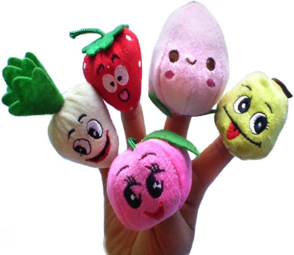 XILALU Baby Finger Puppets Kolylong 10pcs Fruits and vegetables Finger Puppet Plush Child Baby Early Education Toys Gift