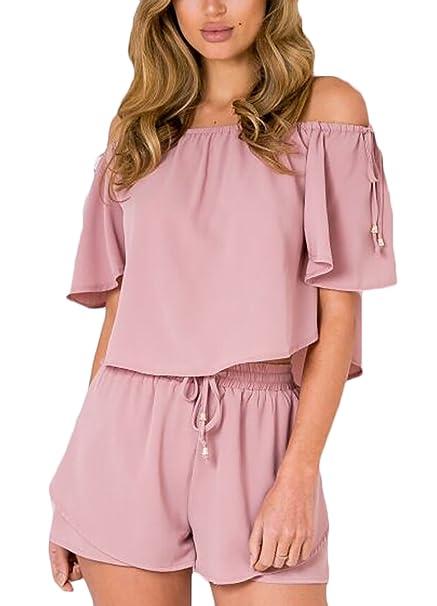 Mujer Conjuntos Verano Elegantes Blusas Cuello Barco Dulce Lindo Chic Corta Y Pantalones Cortos Shorts Moda