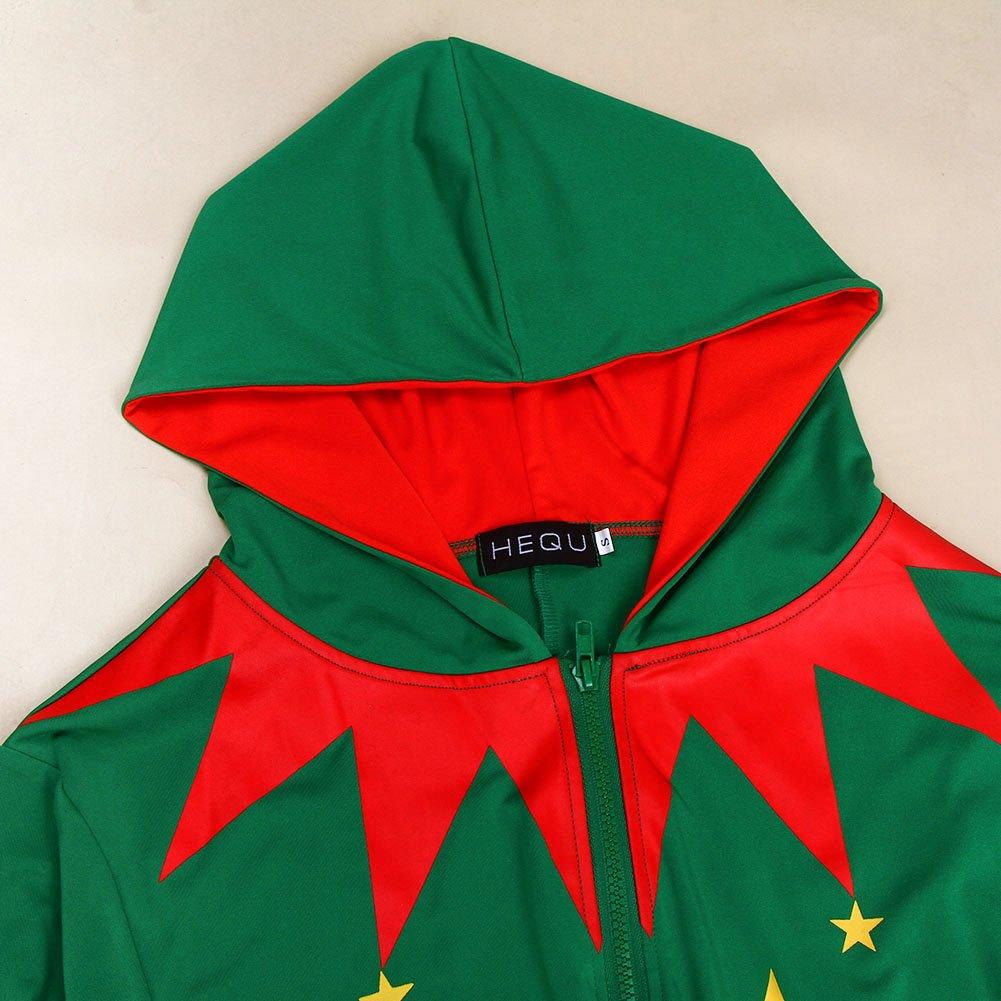 Bangerdei Mens Holiday Christmas Zip Up Jumpsuit Santa Claus Romper Adult