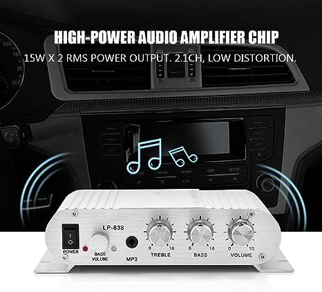 Argent Exliy lp-838 Amplificateur de Puissance Audio Amplificateur num/érique Basse st/ér/éo HiFi 2.1