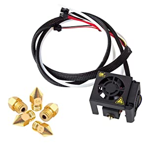 3D Printer Ender 5 Full Assembled Extruder Kit 24V with 2pcs Cooling Fans / 5pcs 0.4mm Nozzles for 3D Printer Ender 5 / Ender 5 Pro
