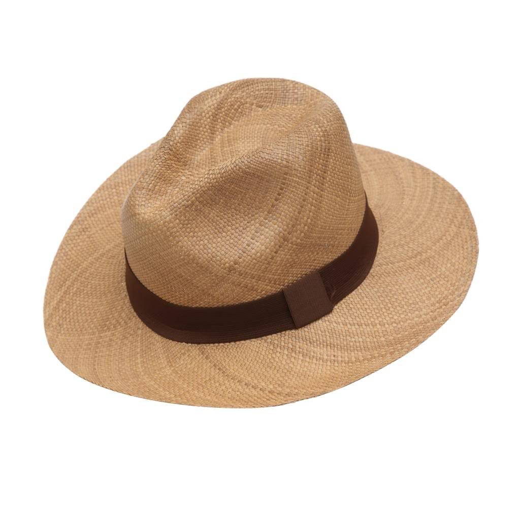 Brown Wide Indiana Jones Style Brimmed Genuine & Original Panama Straw Hat Handwoven In Ecuador 111pnmh009_62_63_cm
