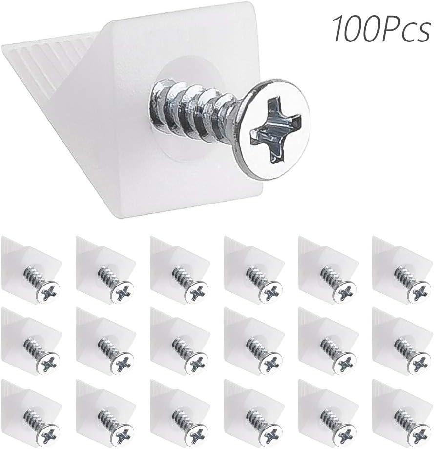 LUCY WEI 100 PCS R/ückwandverbinder R/ückwandhalter Schubladenb/öden Keil Regal Stabilisator f/ür Durchh/ängende Schubladen B/öden Keil Wei/ß Schrauben