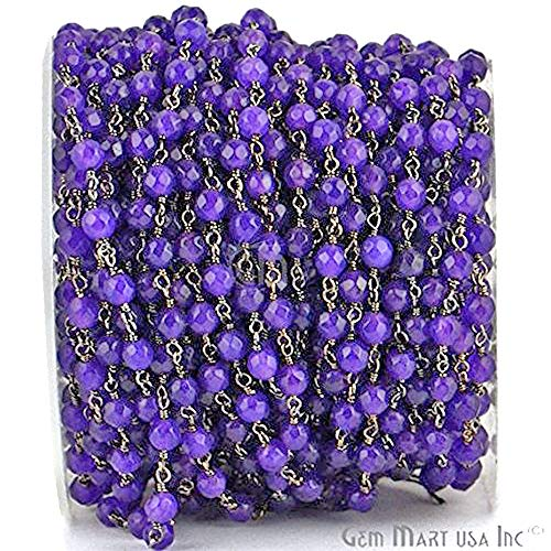 - Wholesale 10 Feet Beautiful Amethyst Jade, 4mm Black Plated wire wrapped Rosary Chain by foot. (BPAJ-30017)