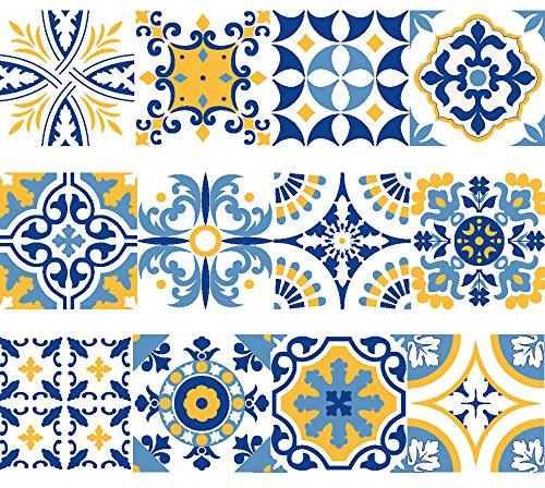 NossaRua Franja de Vinilo Decorativo Autoadhesivo removible para Pared de facil aplicacion para bano, Cocina y decoracion coleccion Alfama Set de 15 Unidades 3 Metros lineales