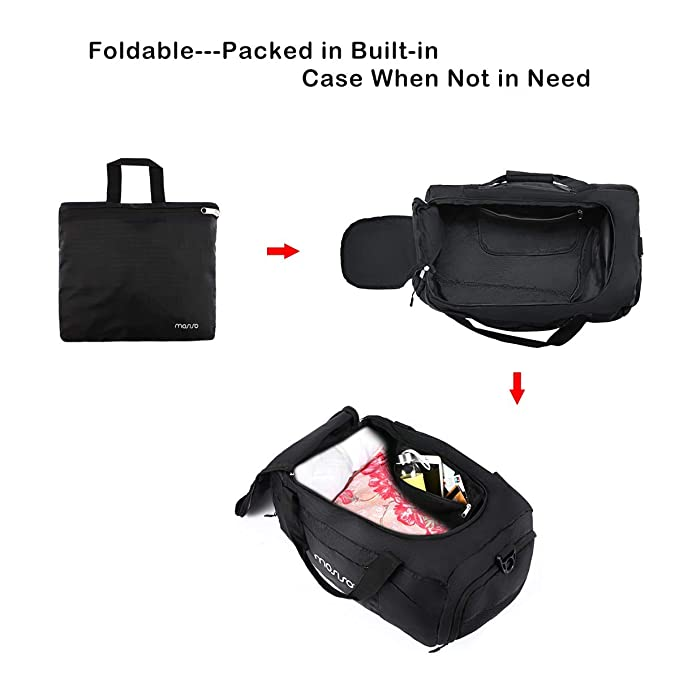 2fee4d3cf044 ... 45L Foldable Travel Duffel Bag Waterproof Luggage Equipment Organizer  Gear Weekend Overnight Sack Lightweight Gym Sports Fitness with Shoe  Compartment ...