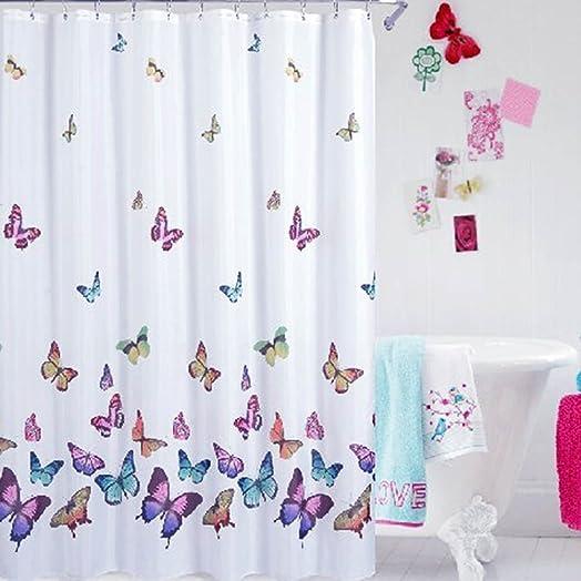 Wonderful PowerLead Pscr C002 Butterflies Print Bath Curtain Waterproof Fabric Shower  Curtain Multi Color