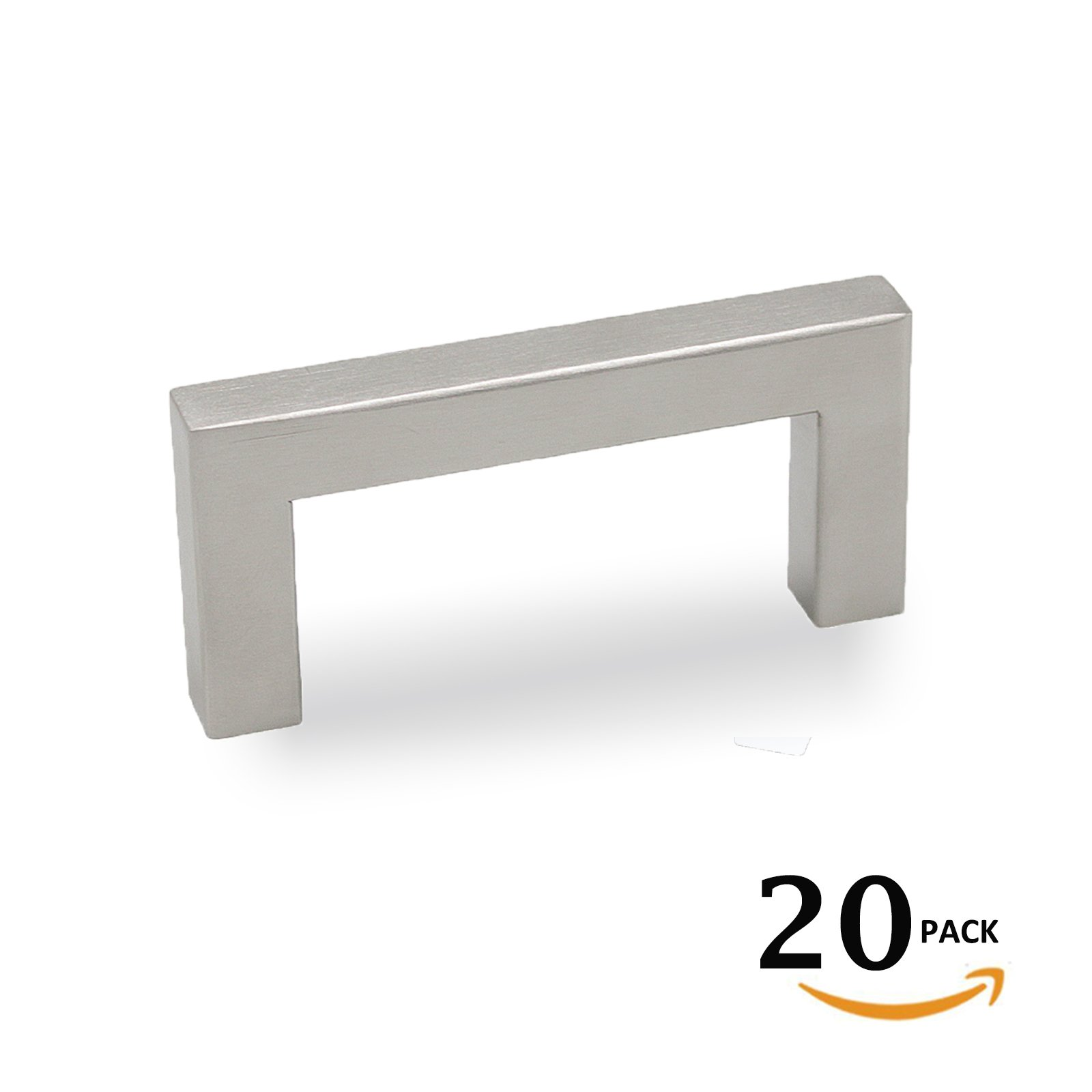 Brushed Nickel Square Stainless Steel 2-1/2''(64mm) Hole Spacing Drawer Dresser Pull Kitchen Cabinet Handle and knob 20Pack,Width 10mm