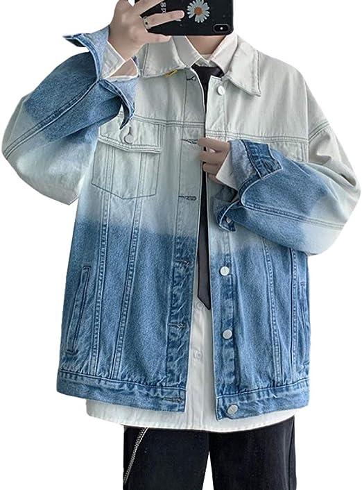 [ShuMing]デニムジャケット メンズ ジャケット 秋服 ゆったり ジージャン デニム クラーデション ヒップポップ ストリート系 アウター 大きいサイズ 原宿風