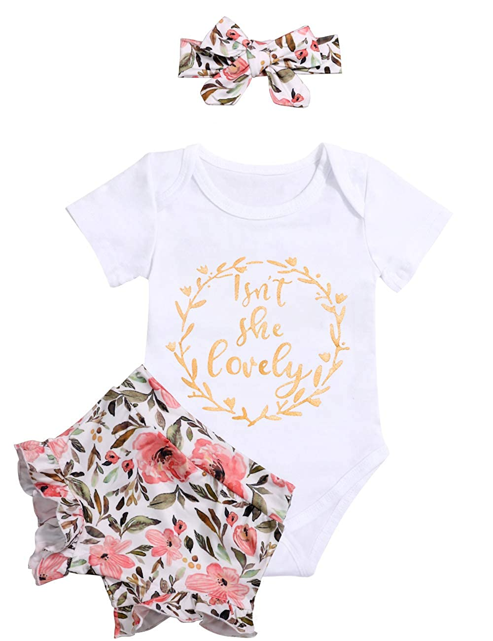 IWOKA 3Pcs Newborn Baby Girl Short Sleeve Letters Romper Jumpsuit+Pant Shorts+Headband Bodysuit Outfit