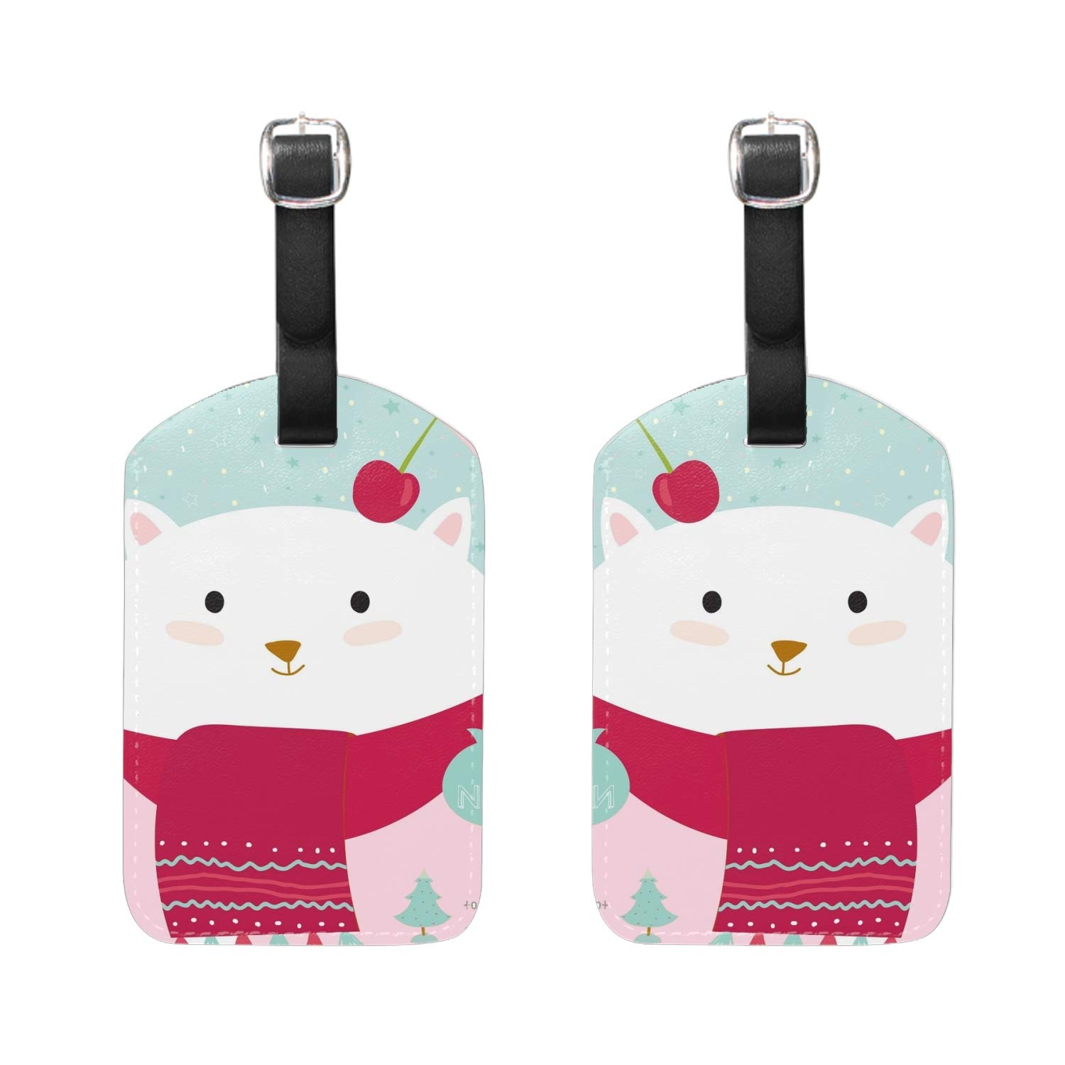 Black White Pattern Print Luggage Identifiers with Strap Closure