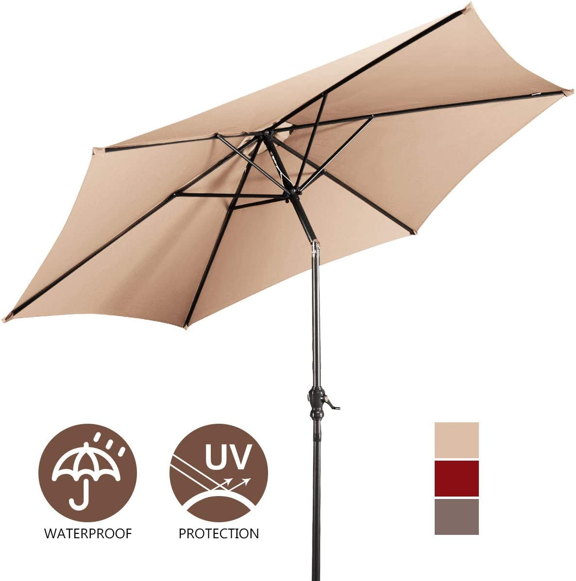 Giantex 10ft Outdoor Patio Umbrella, Market Table Umbrella w Tilt Adjustment and Crank, 180G Polyester, Garden Canopy for Deck Backyard Pool Indoor Outdoor