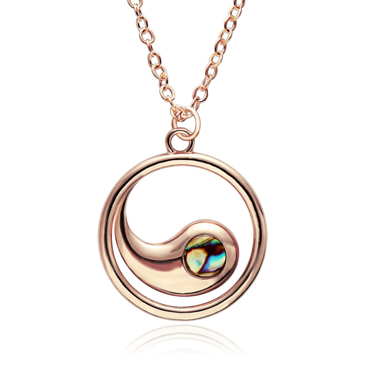 NOUMANDA Abalone Shell Tadpole Pendant Necklace for Women Rose Gold