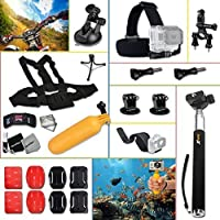 Xtech® Ideal 21 Piece Accessory Kit for GoPro HERO4 Hero 4 + GoPro Hero3 Hero 3, GoPro Hero2 Hero 2, GoPro Surf Hero, GoPro Hero Naked, GoPro Hero 960 Digital Cameras Includes: Adjustable Head Strap Mount+ Chest Strap Mount + Extendable Handle Monopod + Flat / Curvy Adhesive Sticky Mounts + Wrist Camera Strap + Sealed Floating Bobber Handle + Bicycle Handlebar + Car Suction Cup Mount + Deluxe Cleaning Kit