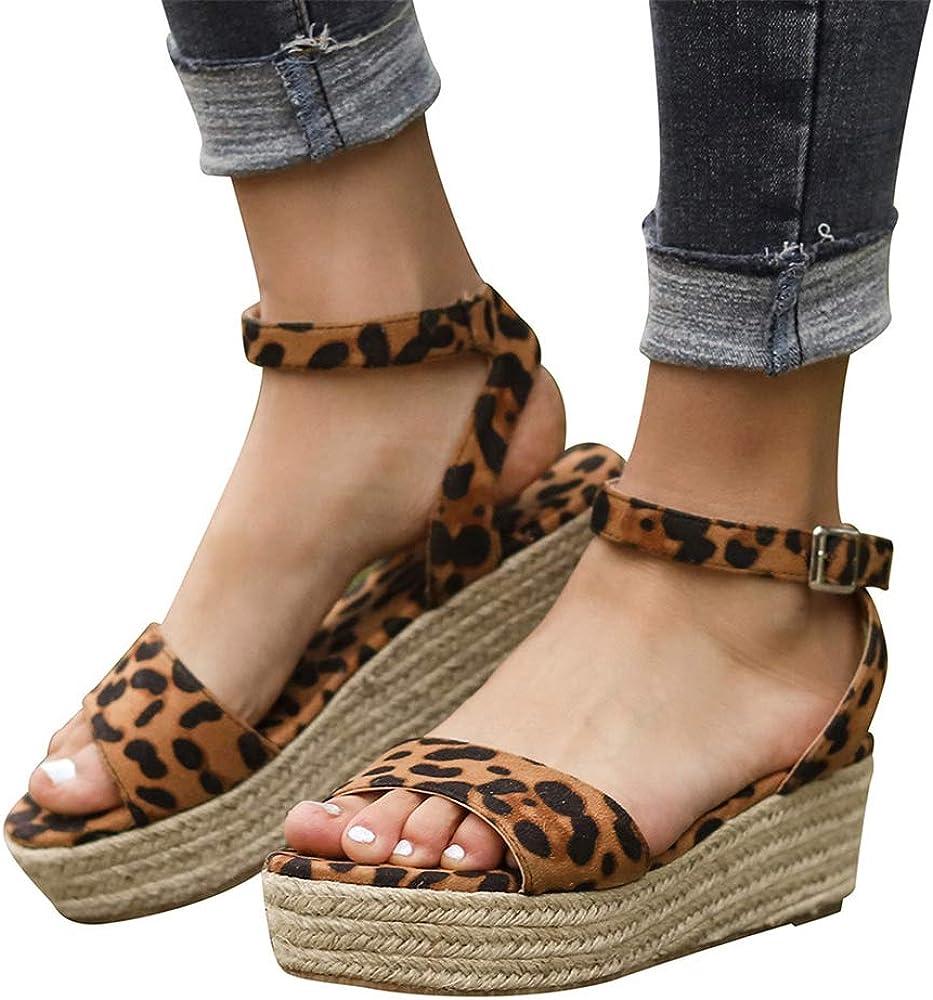 Aniywn Ankle Buckle Sandals,Women Platform Wedges Sandals,Casual Espadrilles Open Toe Sandals for Women