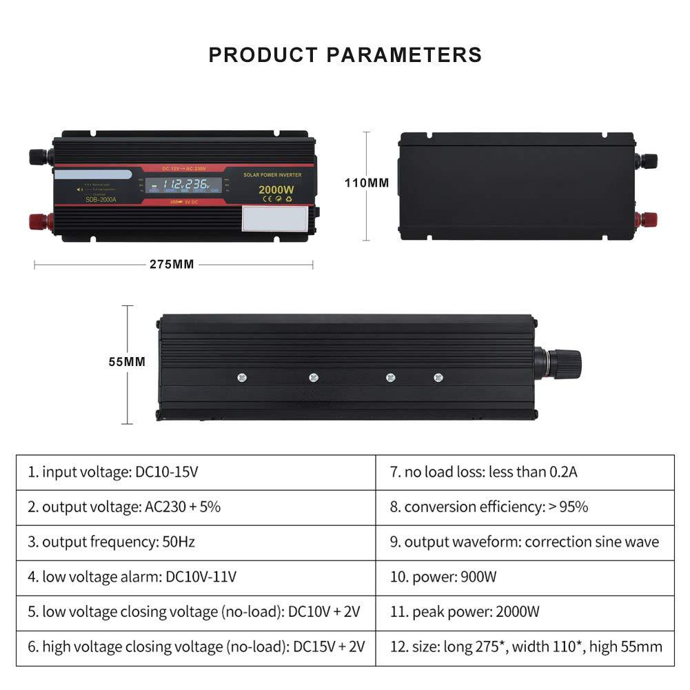 CAPTIANKN Inversor de Potencia 2000 vatios DC 12V a AC 110V 220V con 1 sockets universales y 1 Puerto USB convertidores de Pantalla LCD,12vto220v