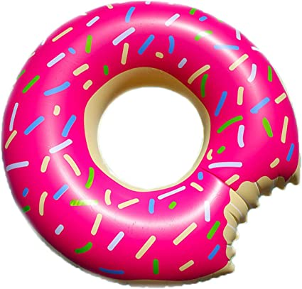 Gigantic Inflatable Jumbo Donut Designed Tube Pool Floats for Kids and Adults Durable Vinyl Patch Kit Included for Beach and Pool Party by Alayna