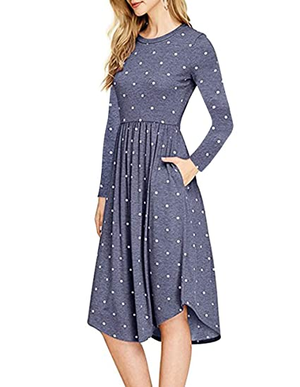 db992f4d8023 Womens Casual Long Sleeve Polka Dot Empire Waist Pleated Pockets Midi Dress  at Amazon Women s Clothing store