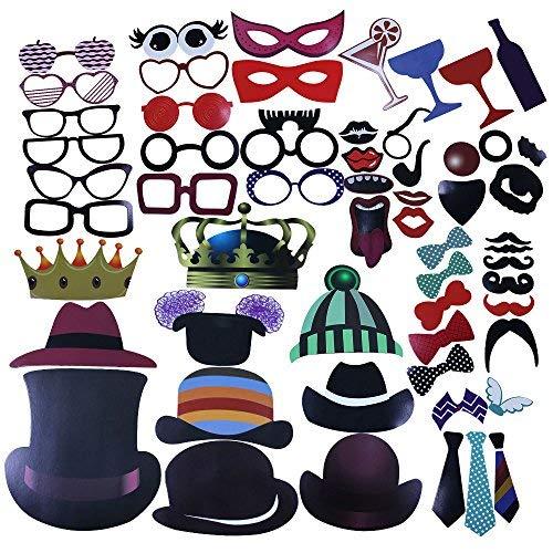 Sombrero Labios Bigote BUZIFU 58pcs DIY Foto Booth Props Boda Novia Cumplea/ños Halloween Accesorios de Cabina de Fotos M/áscaras de Fiesta Gafas S/úper Divertidos Apoyos de Fotos