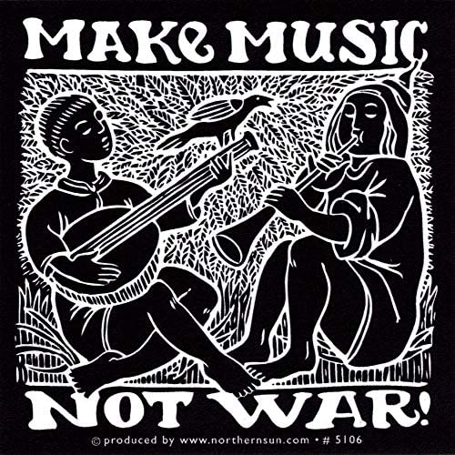 Make Music Not War - Peace / Anti-War Small Bumper Sticker / Decal (3 X 3)