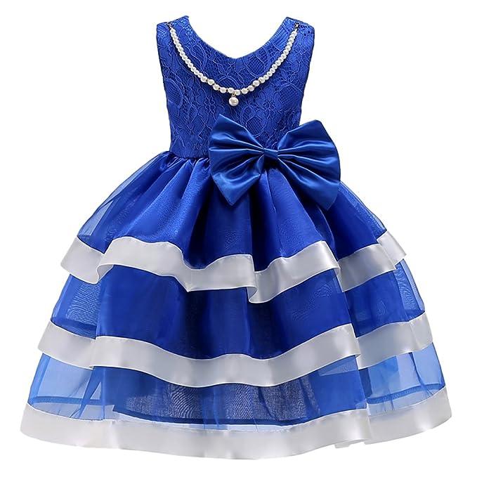 Niña Dulce Bordado Sin Mangas Perla Collar Fiesta Princesa Pastel Vestidos Azul 100CM