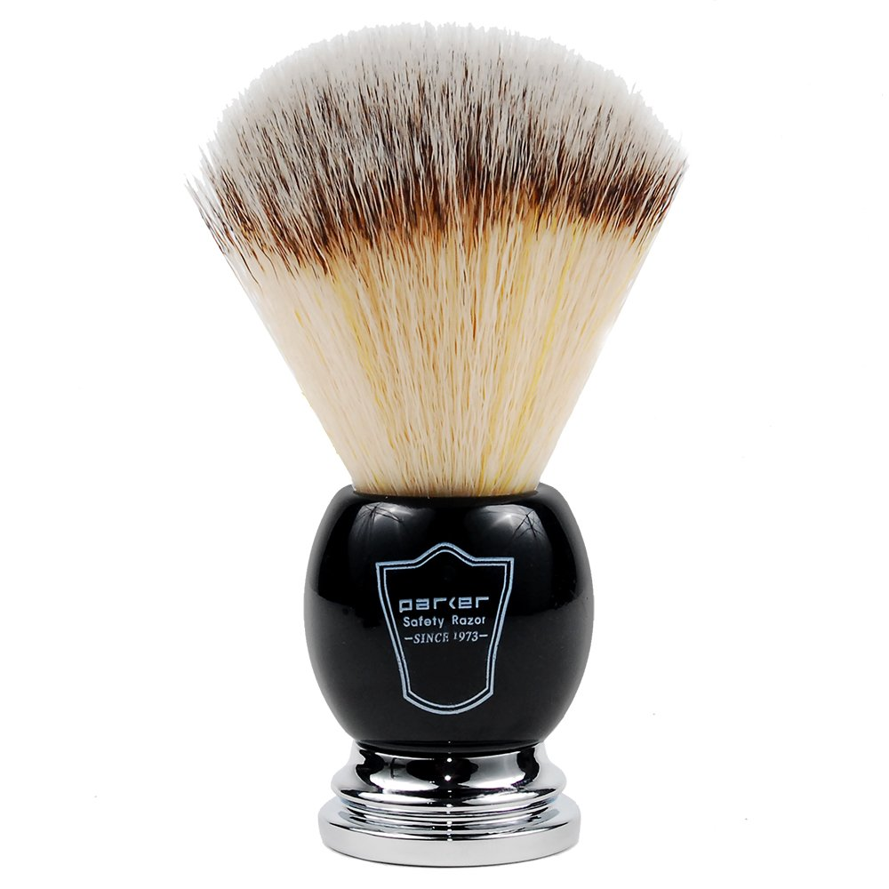 Parker Safety Razor SYNTHETIC Bristle Shaving Brush with Deluxe Black and Chrome Handle & Stand