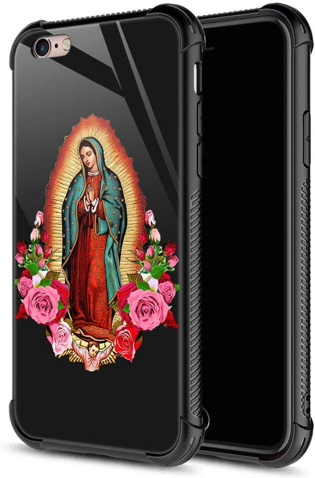 iPhone 6S Plus Case,Flower Lady iPhone 6 Plus Cases for Girls Boys,9H Tempered Glass Graphic Design Shockproof Anti-Scratch Tempered Glass Case for Apple iPhone 6/6S Plus