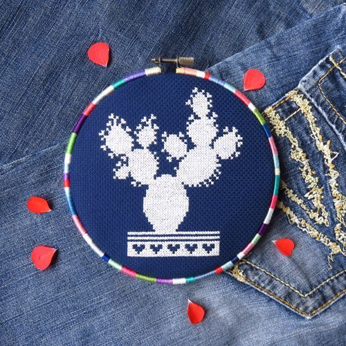 Prickly Pear Cactus Cross Stitch Pattern - Chart (White Cross Pear)