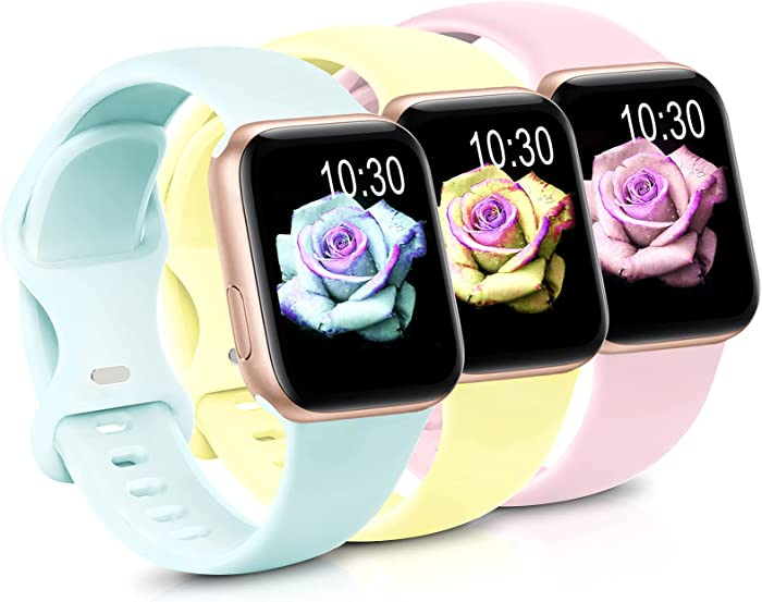 Sport Band Compatible with Apple Watch iWatch Bands 38mm 40mm 42mm 44mm,Soft Silicone Strap Wristbands for Apple Watch Series 3 6 5 4 2 1 SE Women Men Pack 3,Goose Yellow/Pink/Light Green,38/40mm,M/L