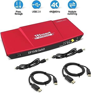 TESmart 2-Port HDMI KVM Switch 4K 60Hz UHD Audio Output and USB Sharing –
