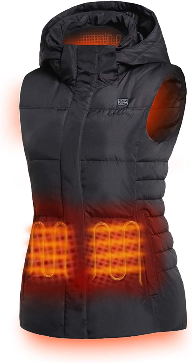 ORORO Women's Heated Vest with 90% Down Insulation and Detachable Hood (Battery Included)
