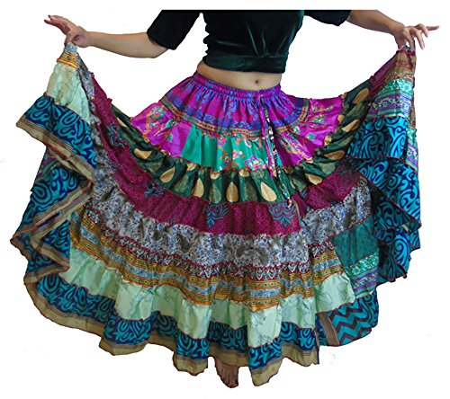[1 - 7 Yard Tribal Gypsy Maxi Tiered Skirt Belly Dancing Skirts Silk Blend Banjara Fits S M L XL (Assorted)] (No Budget Costumes)