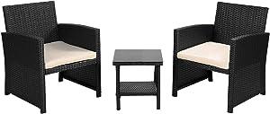 FDW 3 Pieces Patio Furniture Sets Outdoor Patio Set Wicker Bistro Set Rattan Chair Conversation Sets Patio Sofa Wicker Table Set for Yard Backyard Lawn Porch Poolside Balcony